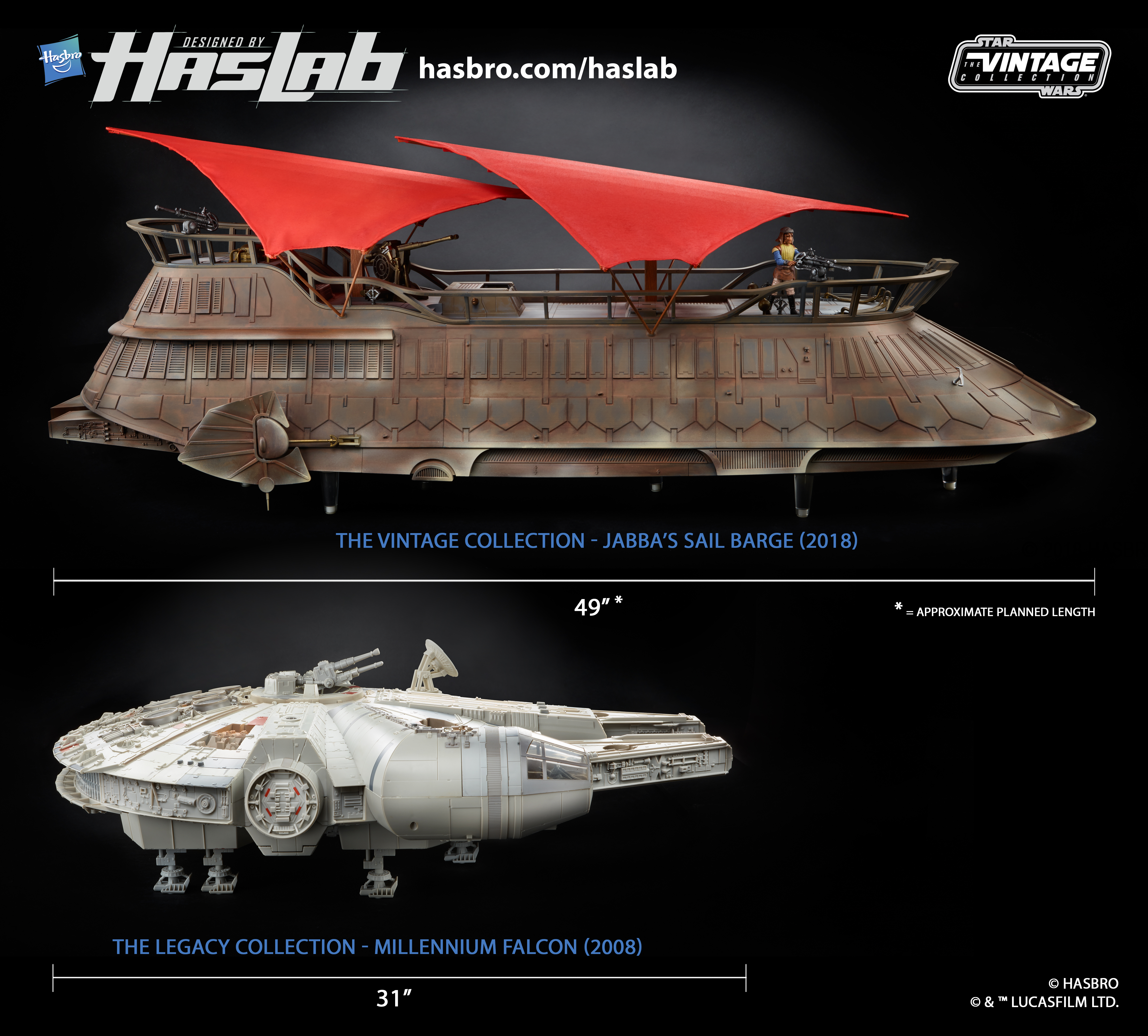 Jabba's Sail Barge and Millennium Falcon